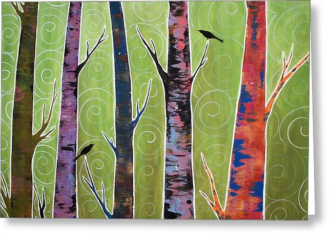 Trees On Green Greeting Card by Karla Gerard