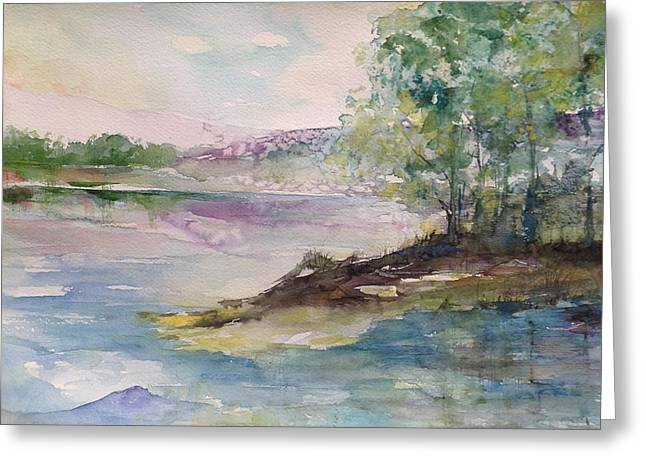 Trees On Water's Edge Greeting Card by Robin Miller-Bookhout