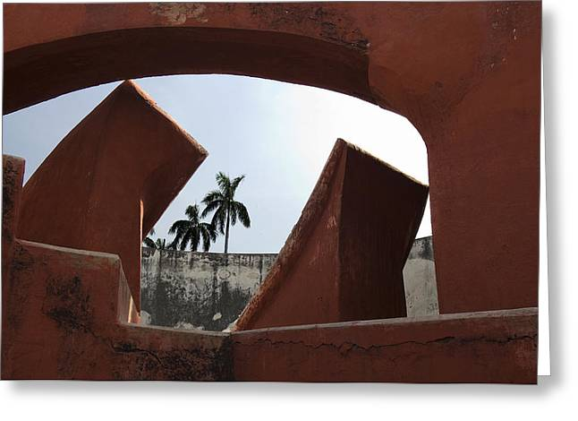 Trees Through The Window Greeting Card by Rajiv Chopra