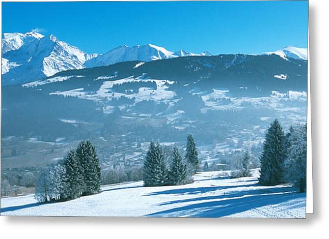 Trees With Snow Covered Mountains Greeting Card by Panoramic Images