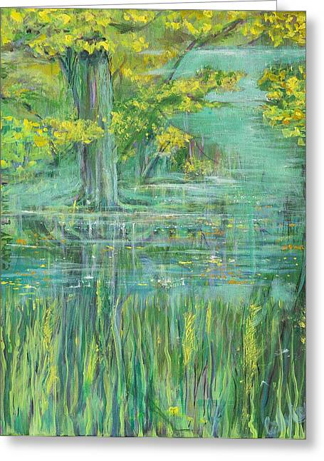 Greeting Card featuring the painting Treeversable by Cathy Long