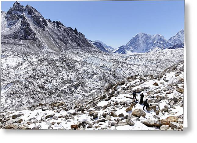 Trekkers En Route To Everest Base Camp In The Everest Region Of Nepal Greeting Card by Robert Preston