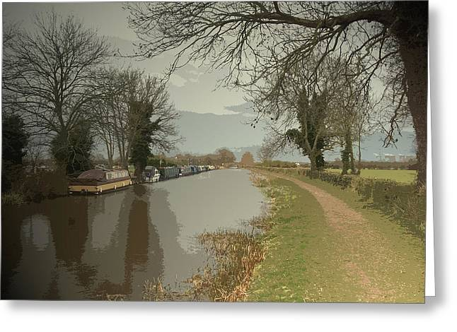 Trent And Mersey Canal Near Chapel Farm, Boats Moored Greeting Card