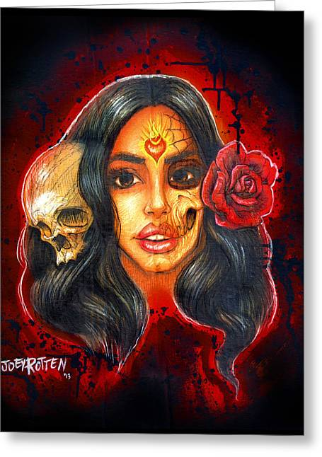 Tres Flores Tres Muertes Greeting Card by Joey Rotten
