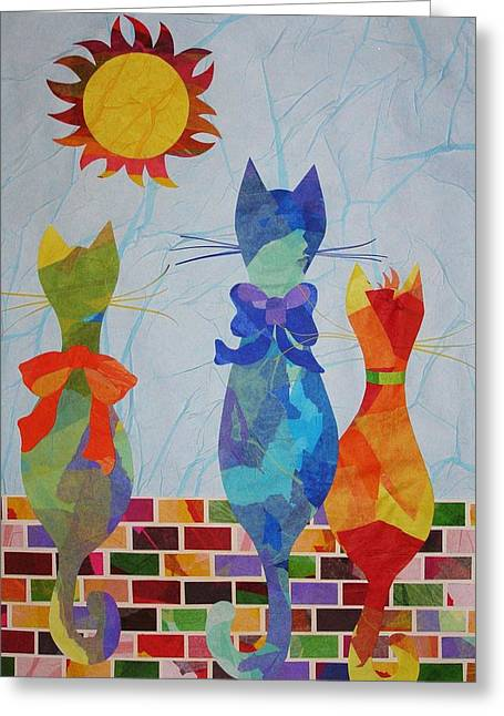 Greeting Card featuring the mixed media Tres Gatos by Diane Miller