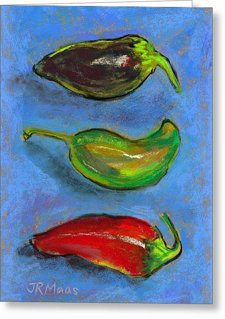 Greeting Card featuring the pastel Tres Peppers by Julie Maas
