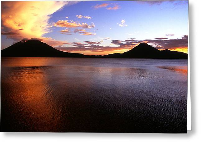 Tres Volcans At Sunset Greeting Card
