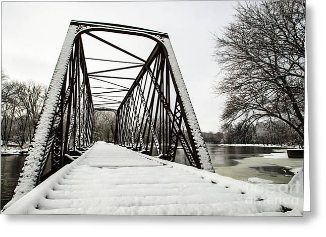 Winter Storm Nemo Greeting Cards - Trestle Bridge After Nemo Greeting Card by Deborah Smolinske