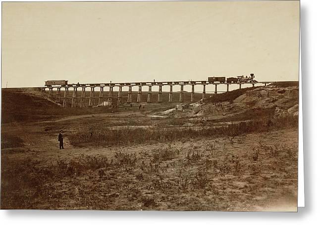 Trestle Bridge Near Fort Harker, Kansas Alexander Gardner Greeting Card by Litz Collection