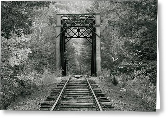 Trestle Bridge Over Railroad Track Greeting Card