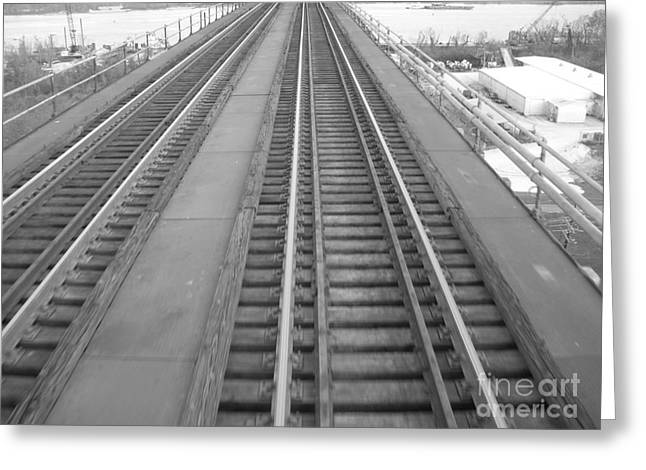 Trestle Train Tracks Black And White Greeting Card by Joseph Baril