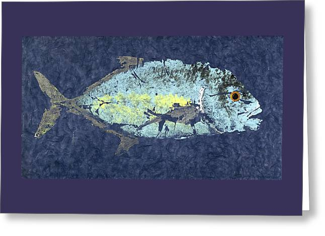 Gyotaku Trevally Greeting Card by Captain Warren Sellers