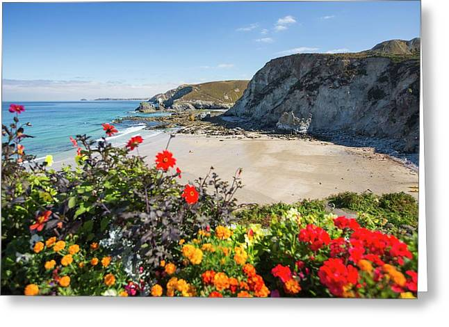 Trevaunance Cove In St Agnes Greeting Card by Ashley Cooper