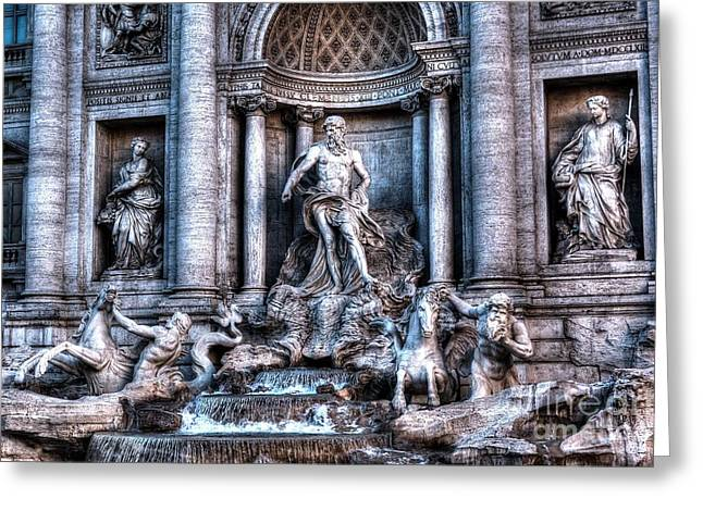 Greeting Card featuring the photograph Trevi Fountain by Joe  Ng