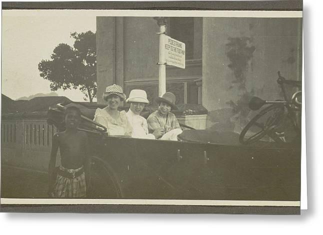 Triad Sitting In The Backseat Of A Car, Leading A Boy Greeting Card by Artokoloro