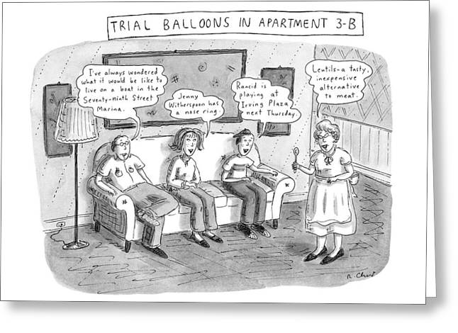 Trial Balloons In Apartment 3-b Greeting Card by Roz Chast
