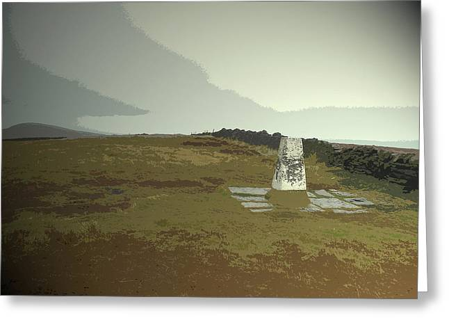 Triangulation Pillar At Shining Tor, Depending Greeting Card by Litz Collection