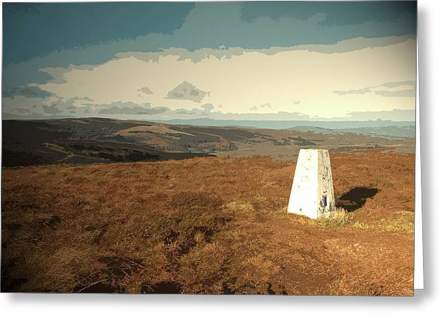 Triangulation Pillar On Burbage Edge, The Wooded Slopes Greeting Card