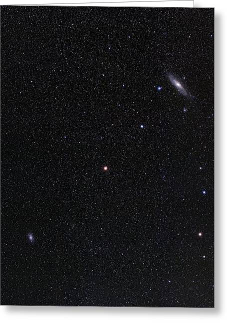 Triangulum And Andromeda Galaxies Greeting Card by Eckhard Slawik