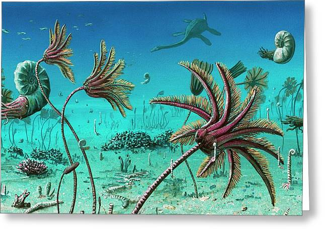 Triassic Underwater Scene Greeting Card