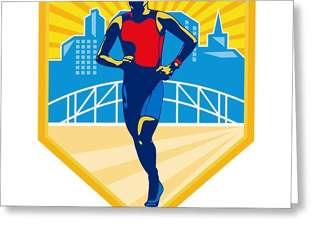 Triathlete Marathon Runner Retro Greeting Card by Aloysius Patrimonio