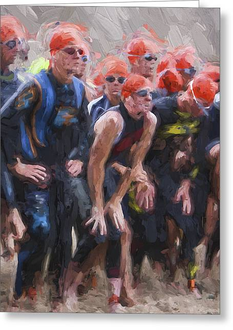 Triathletes On The Beach Greeting Card