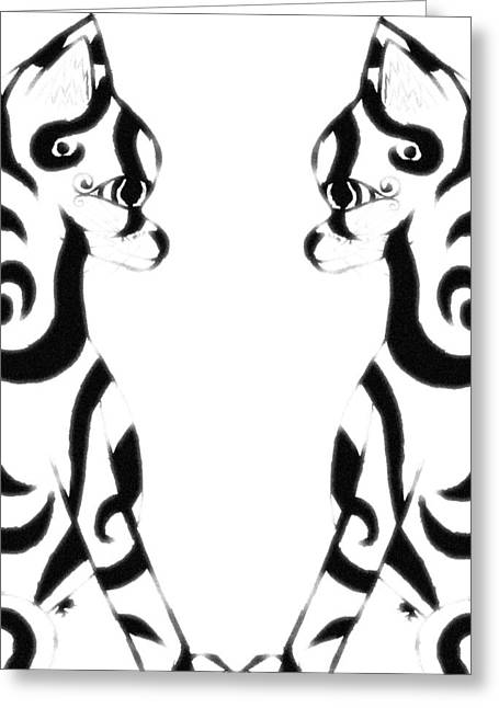 Tribal Black Cats On White Greeting Card