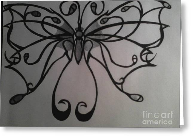 Tribal Butterflly Greeting Card by K Kagutsuchi Designs