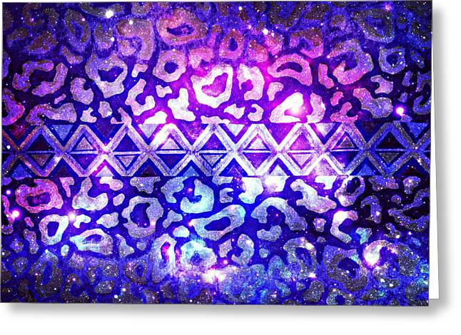 Tribal Leopard Galaxy Greeting Card by Julia Di Sano