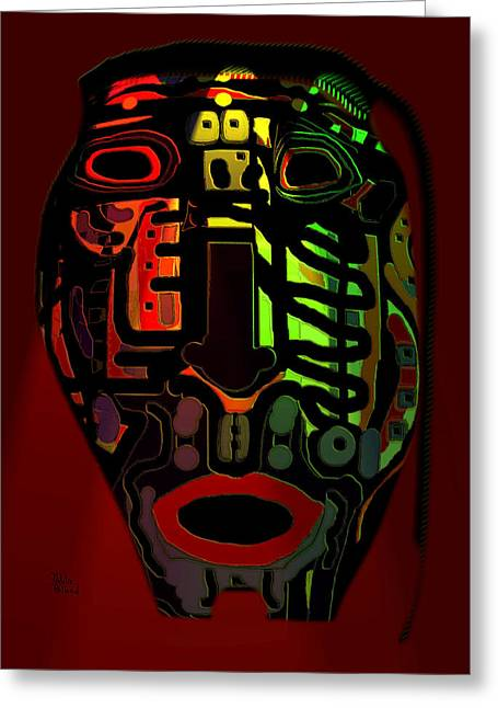 Tribal Mask Greeting Card by Natalie Holland