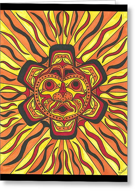 Greeting Card featuring the painting Tribal Sunface Mask by Susie Weber