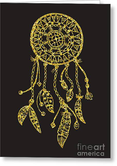 Tribal Vector Dream Catcher With Greeting Card
