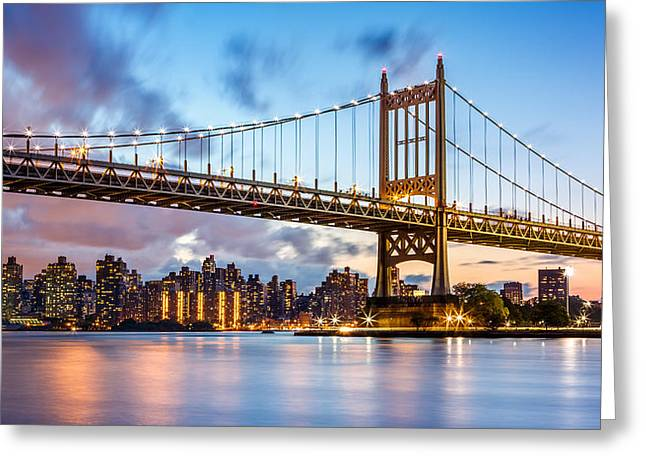 Triboro Bridge At Dusk Greeting Card
