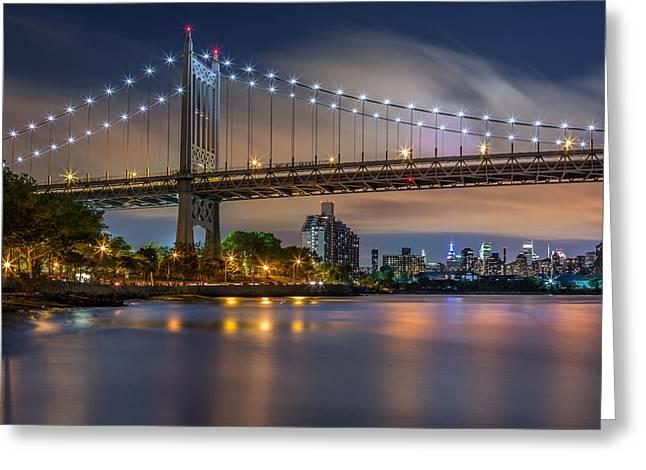 Greeting Card featuring the photograph Triboro Bridge by Mihai Andritoiu