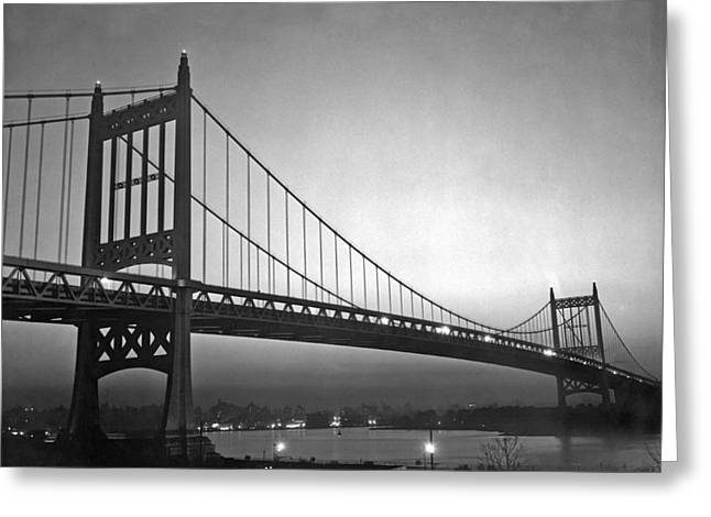 Triborough Bridge At Night Greeting Card by Underwood Archives