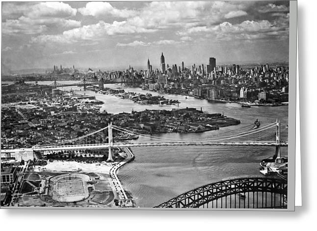 Triborough Bridge Is Completed Greeting Card by Underwood Archives