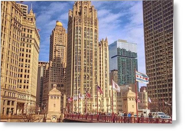 Tribune Tower And Dusable Bridge In Greeting Card