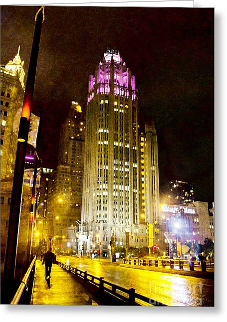 Tribune Tower On A Rainy Night Greeting Card by Jeanette Brown
