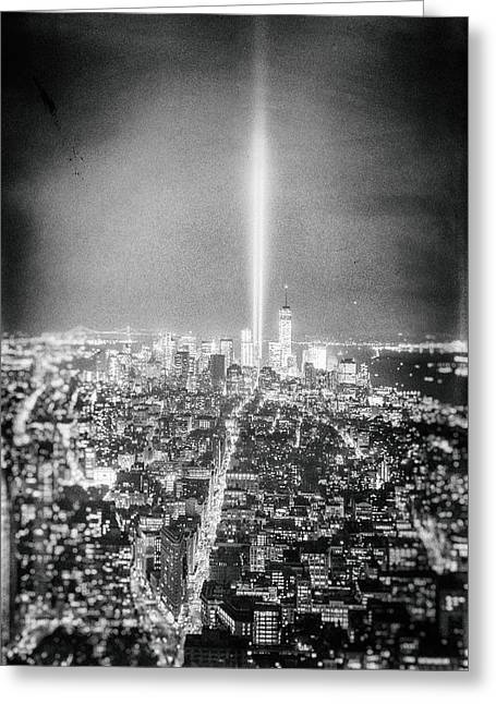 Tribute In Light - New York City Greeting Card by Vivienne Gucwa