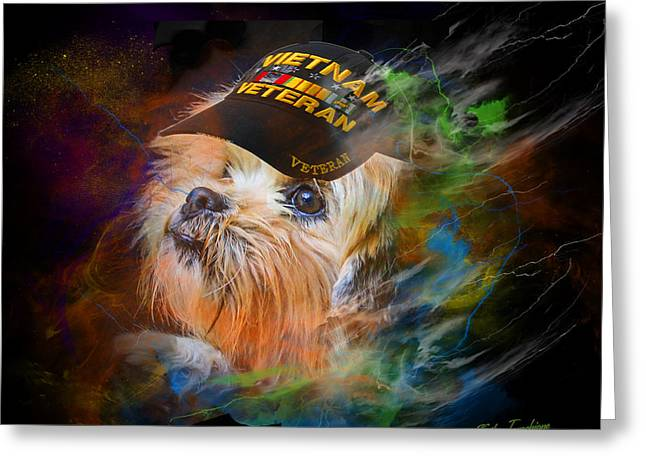 Greeting Card featuring the digital art Tribute To Canine Veterans by Kathy Tarochione