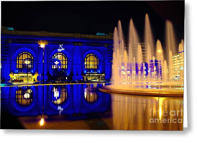 Union Station And Fountain In Royal Blue Greeting Card by Jean Hutchison