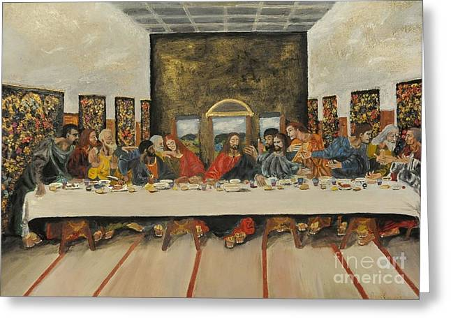 Tribute To The Last Supper Greeting Card by Visual  Renegade Art