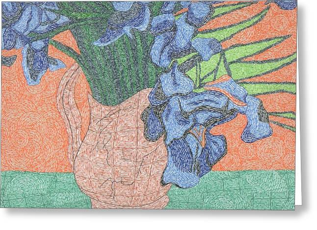 Tribute To Van Gogh's Irises Greeting Card by William Burns