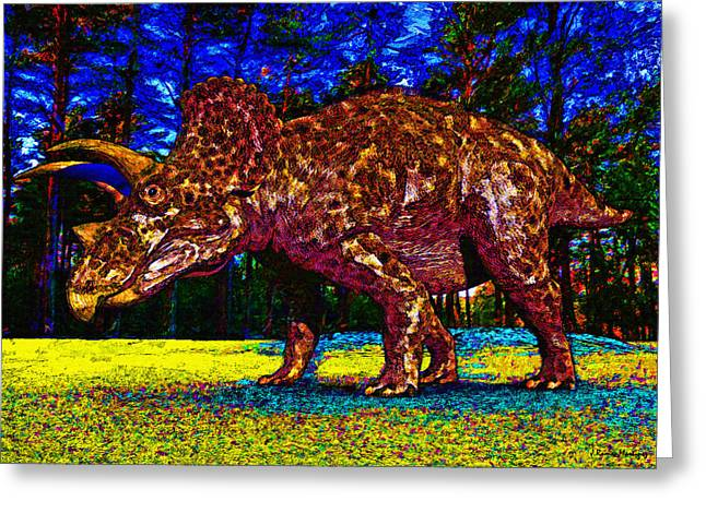 Triceratops Painting Greeting Card by Ramon Martinez