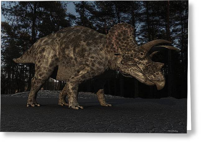 Triceratops Greeting Card by Ramon Martinez