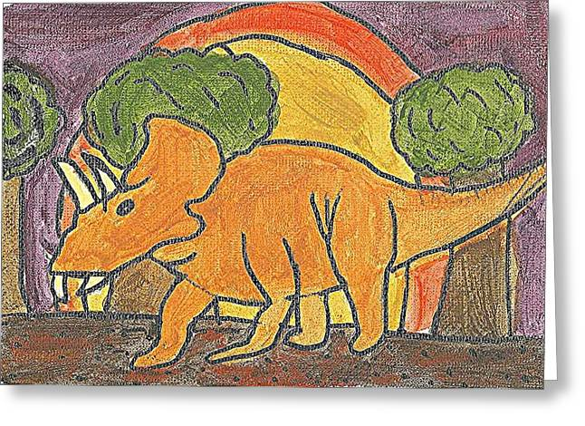 Greeting Card featuring the painting Triceratops by Fred Hanna