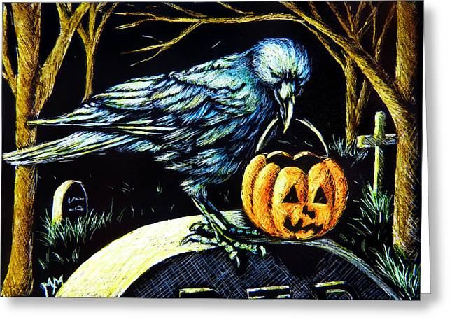 Trick Or Treat Crow Greeting Card by Monique Morin Matson