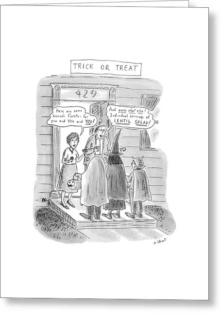 Trick Or Treat 'here Are Some Broccoli Florets - Greeting Card by Roz Chast