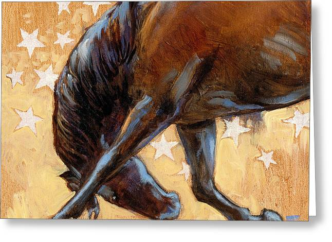 Tricky Pony Reverse Greeting Card by Tracie Thompson