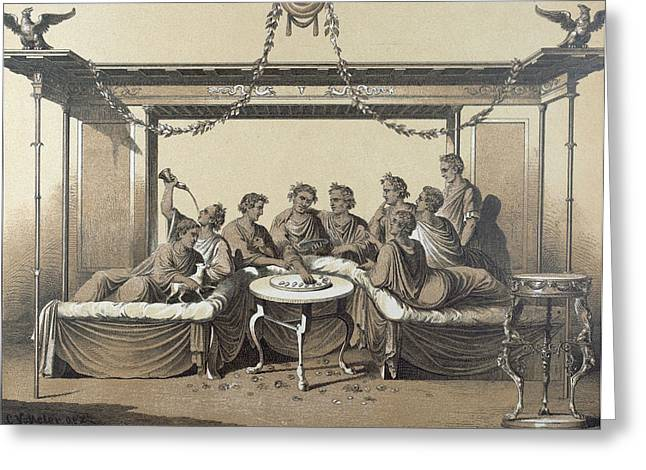 Triclinium, Dinner In A Formal Roman Dining Room, Food Greeting Card
